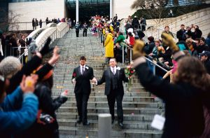 One of the first same-sex couples married in Seattle, leaving City Hall. Wikicommons photo